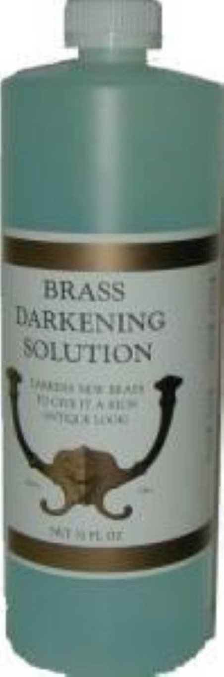 32oz (Ounce) - Brass Darkening Solution antique vintage old metal ager patina copper tin bronze dull J-3499