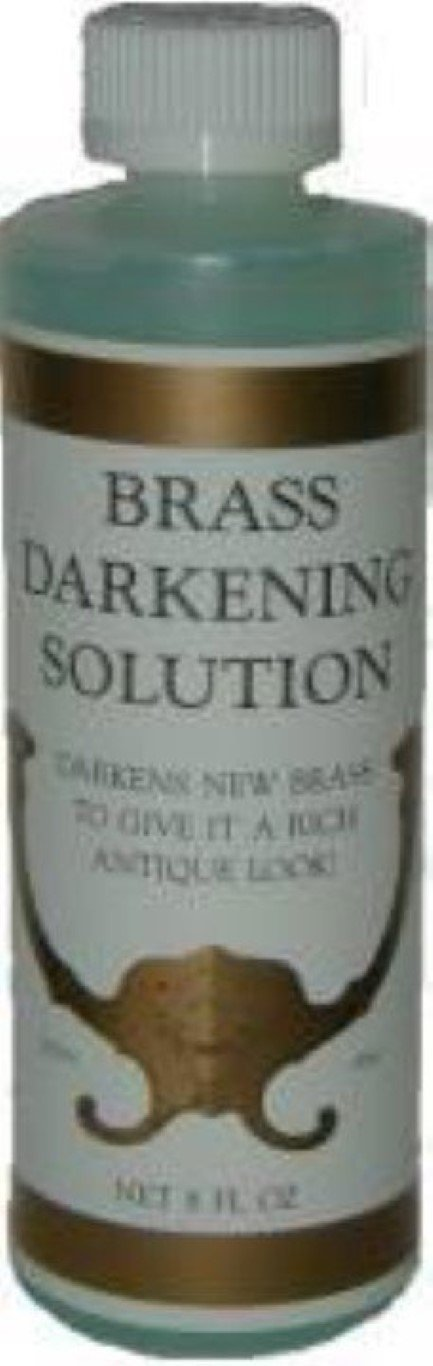 8oz. (Ounce) - Brass Darkening Solution antique vintage old metal ager patina copper tin bronze dull J-3498