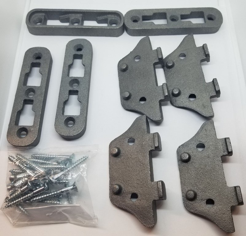 SMALL Cast Iron Bed Rail Fastener Set - frame hooks Post anchors metal  antique vintage