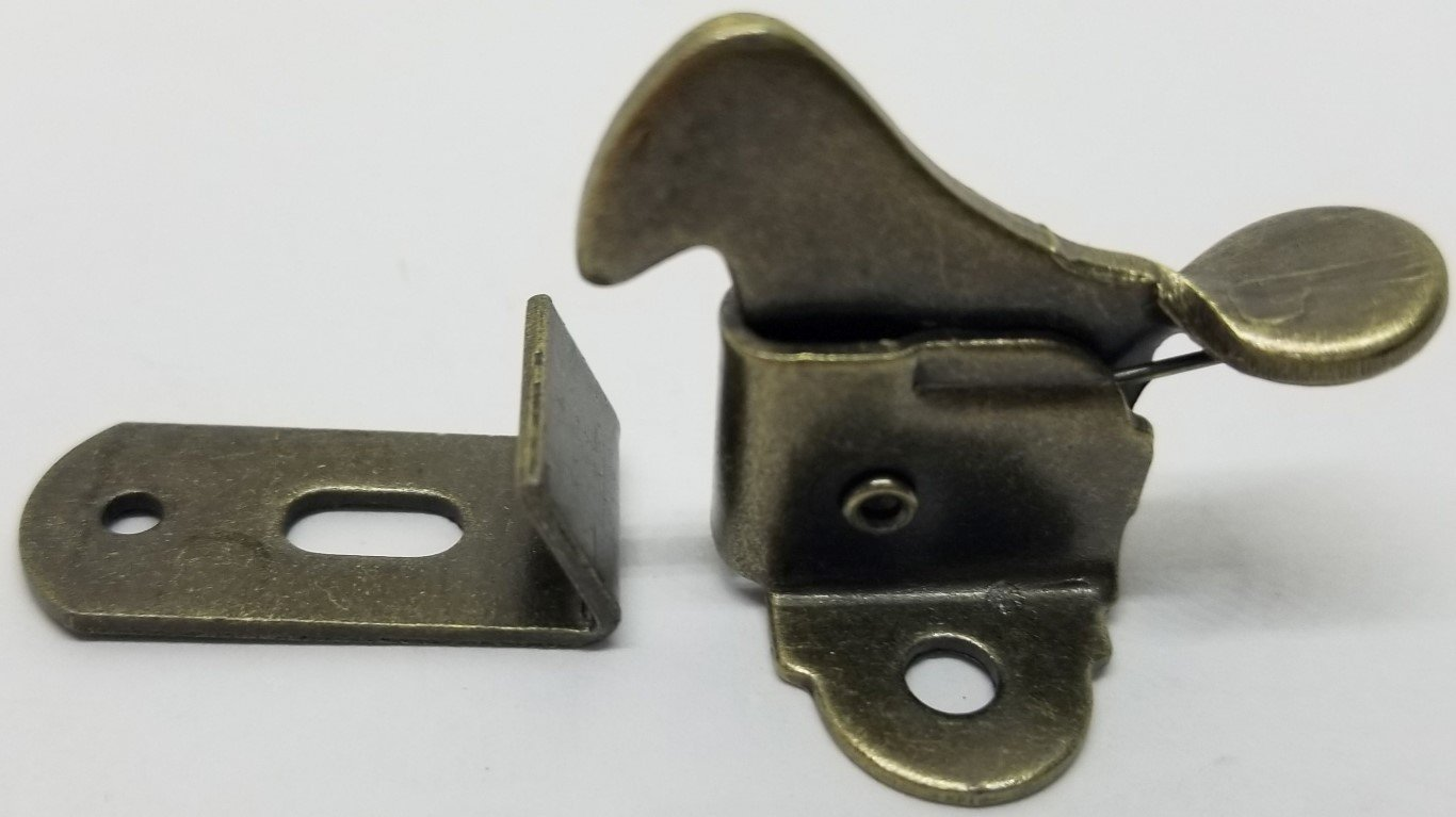 Small Steel Antique Brass Plated Lever Elbow Catch latch spring loaded  bronze cabinet door desk window vintage rustic retro