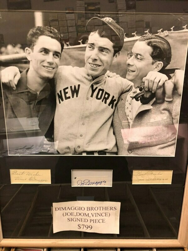 DiMaggio brothers signed Piece, matted and framed: Joe, Dom, Vince