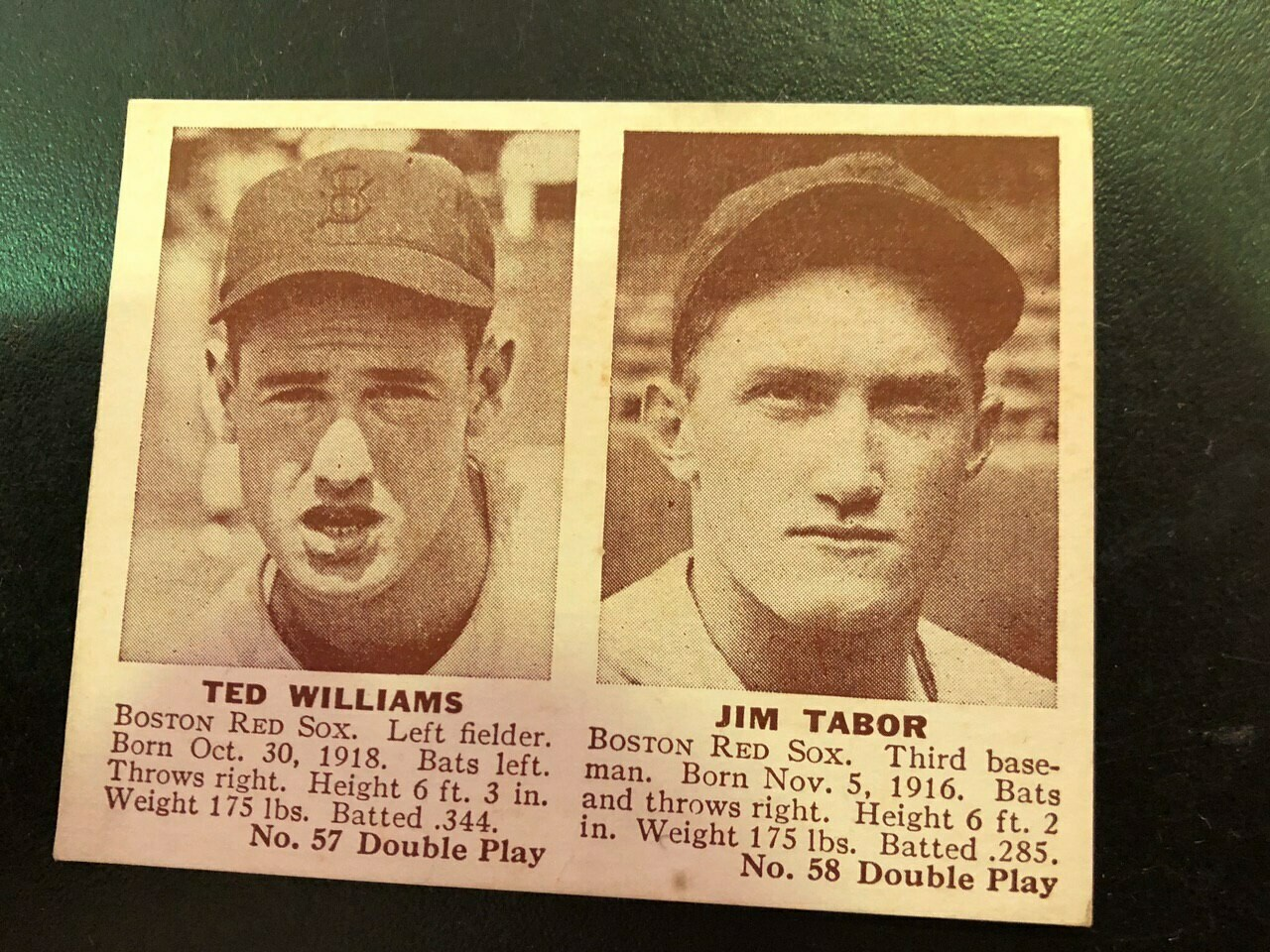 1941 Double Play #57/58 Ted Williams/Trabor List $800, Sell $495