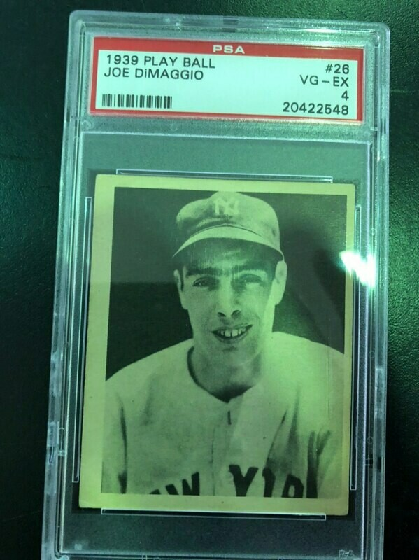 1939 Playball #26 Joe DiMaggio, PSA graded 4, $1500
