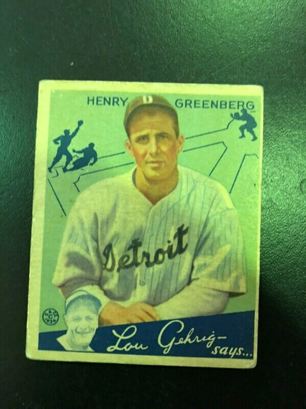1934 Goudey #62 Hank Greenberg rookie, List $1200, sell $595