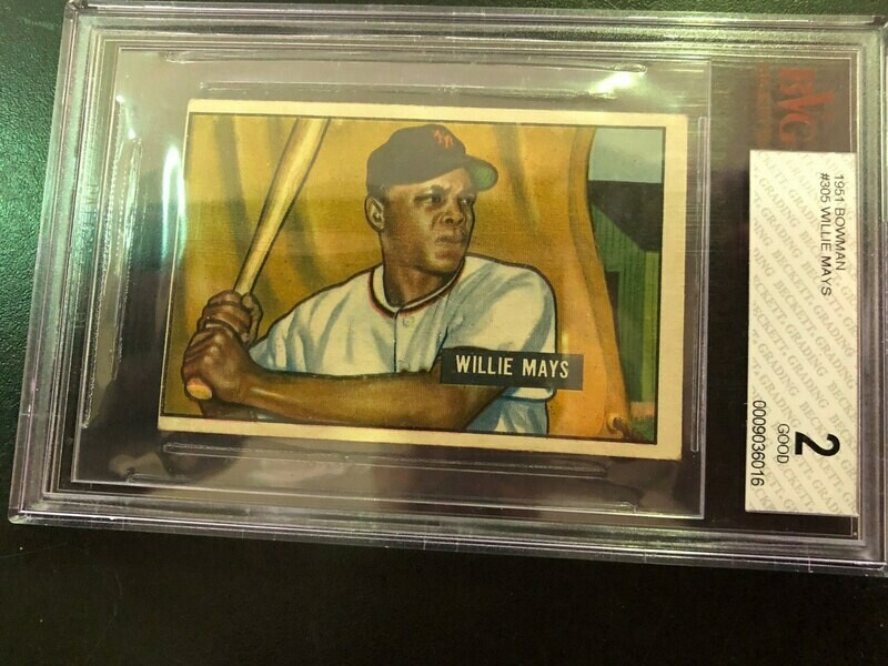 1951 Bowman #305 Willie Mays rookie, Beckett graded 2