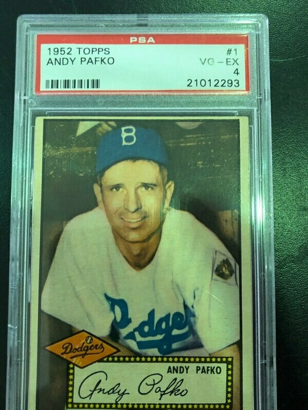 1952 Topps #1 Andy Pafko, PSA graded 4, $1500