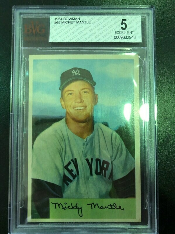 1954 Bowman #65 Mickey Mantle, Beckett graded 5, $1295