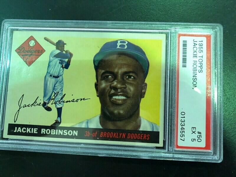 1955 Topps #50 Jackie Robinson PSA 5, $495
