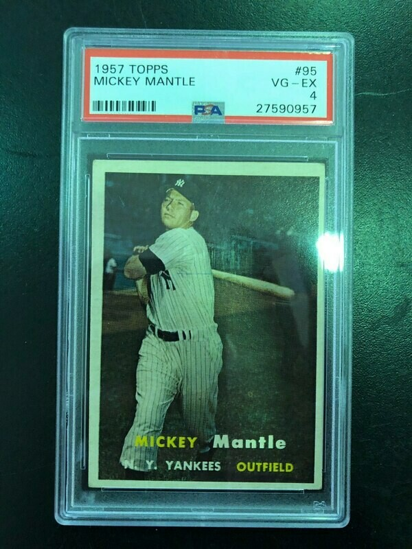 1957 Topps #95 Mickey Mantle, PSA graded 4, List $1200, Sell $595