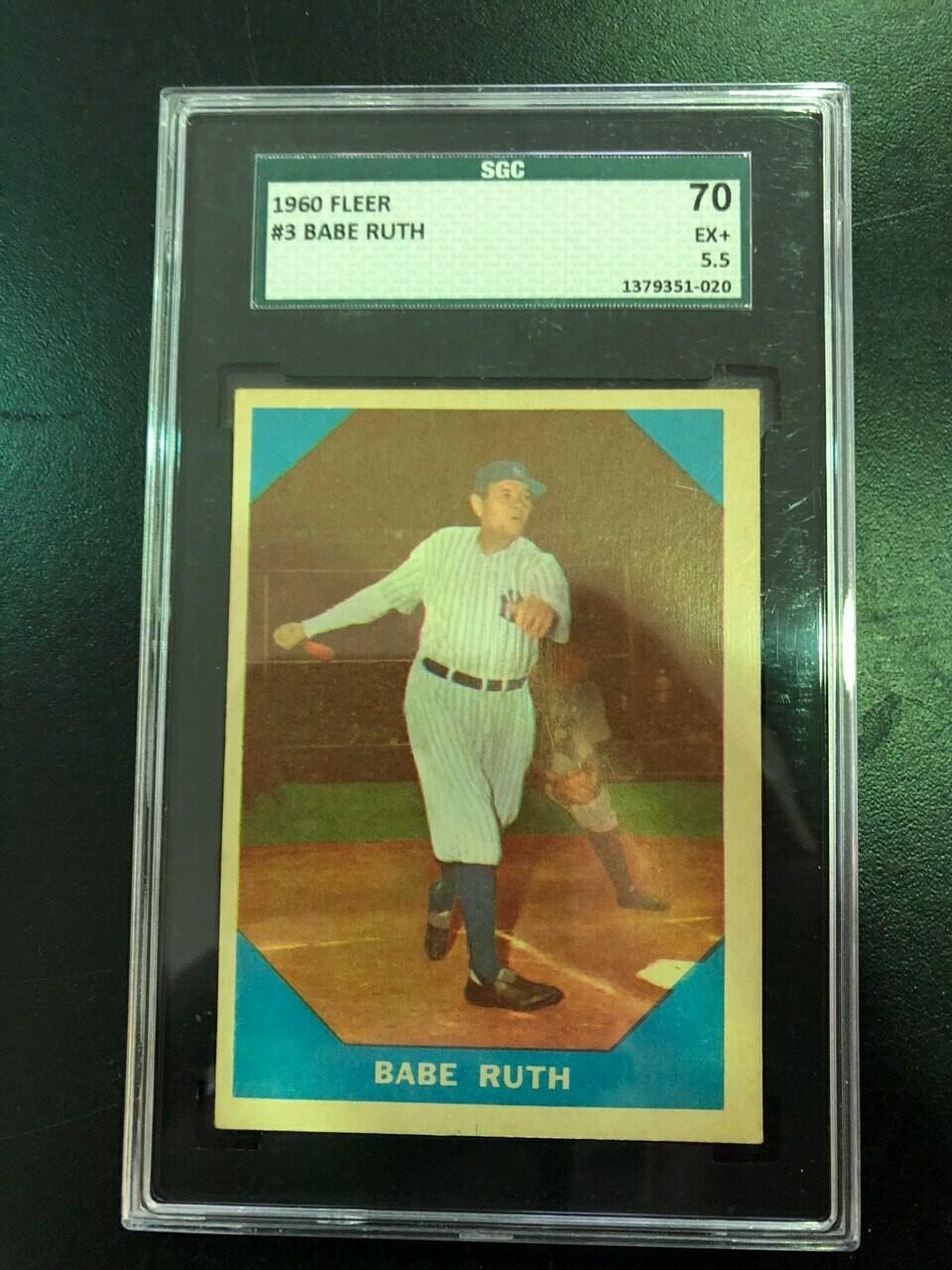 1960 Fleer #3 Babe Ruth SGC graded 5.5, $100