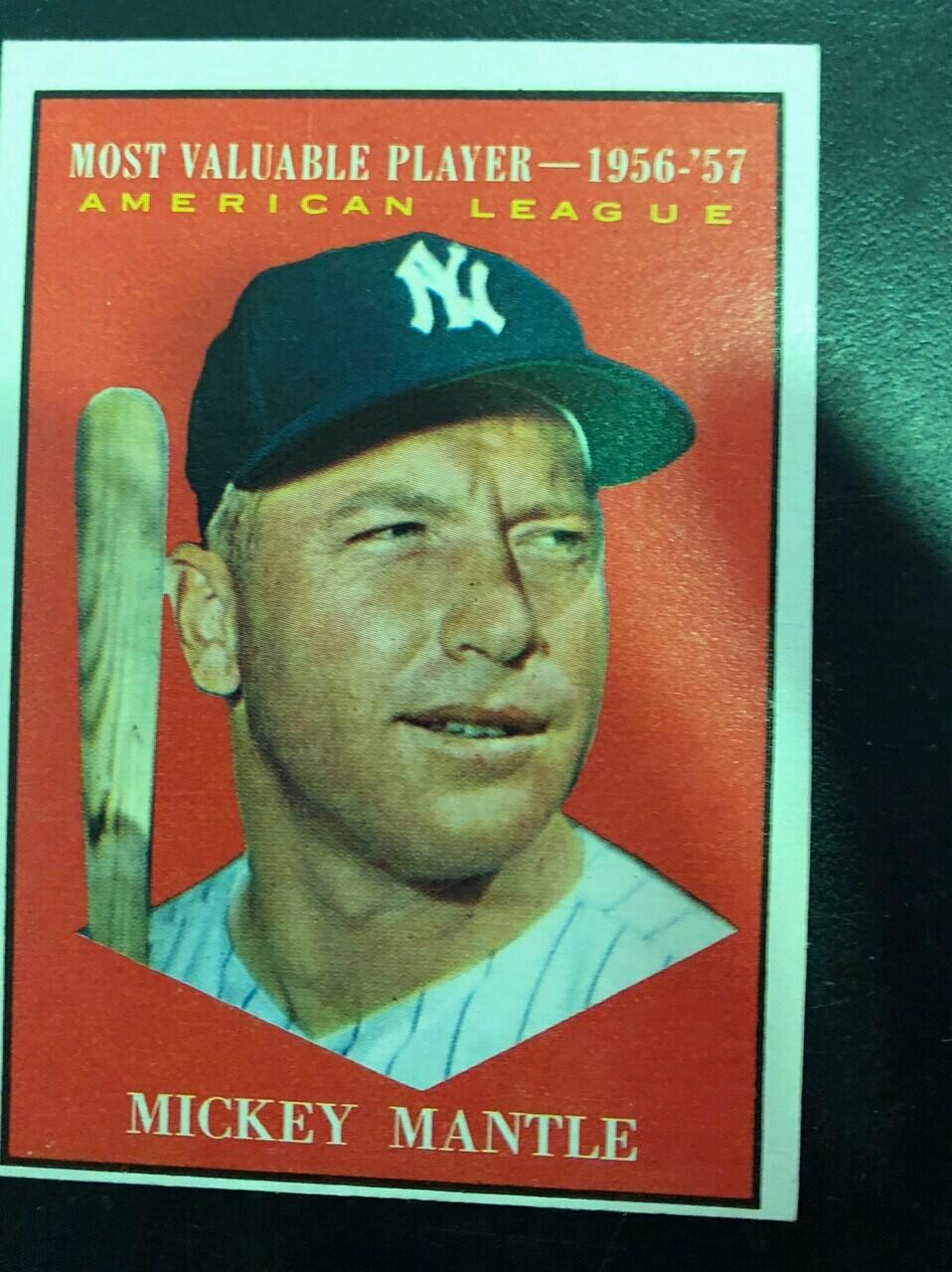 1961 Topps #475 Micky Mantle MVP, $250