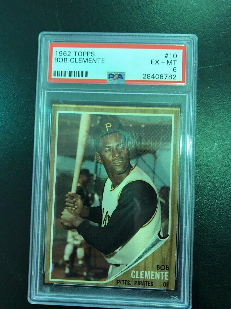 1962 Topps #10 Roberto Clemente PSA graded 6, $120
