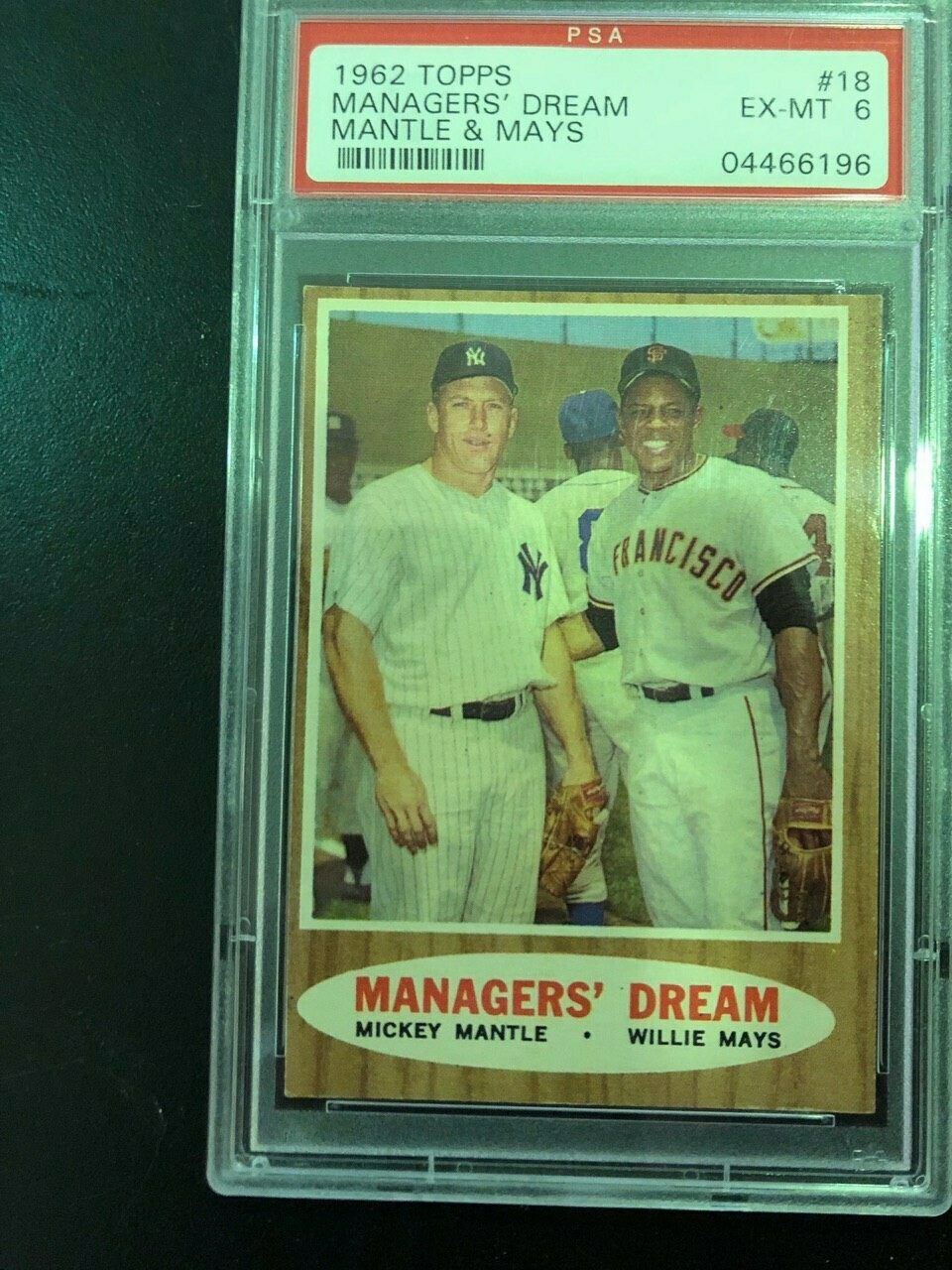 1962 Topps #18 Managers' Dream Mantle/Mays PSA graded 6, $150