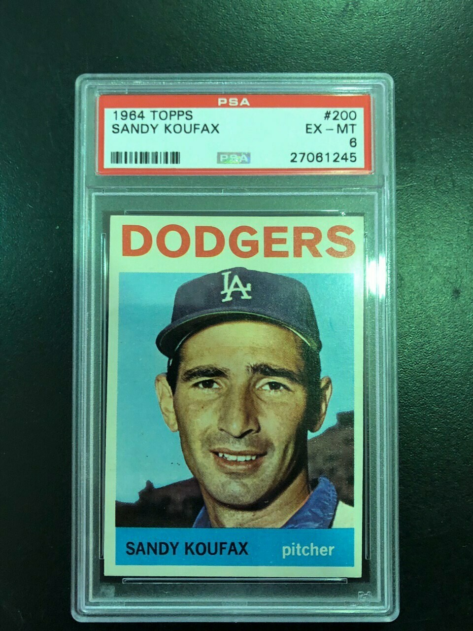 1964 Topps #200 Sandy Koufax PSA graded 6, $120