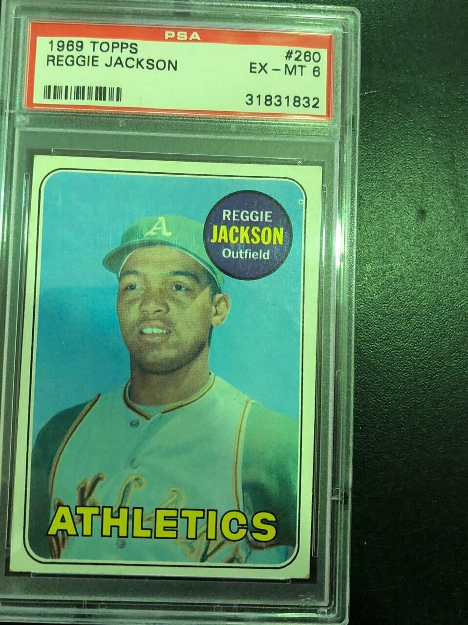 1969 Topps #260 Reggie Jackson rookie PSA graded 6, $250