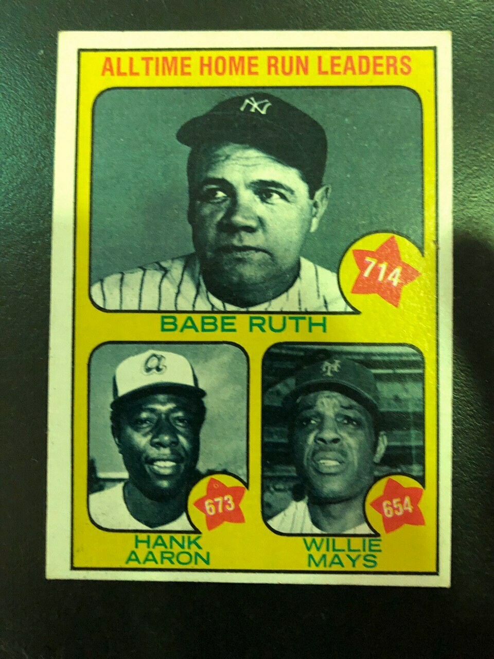 1973 Topps #1 All Time Home Run Leaders Ruth/Aaron/Mays List $60, Sell $45