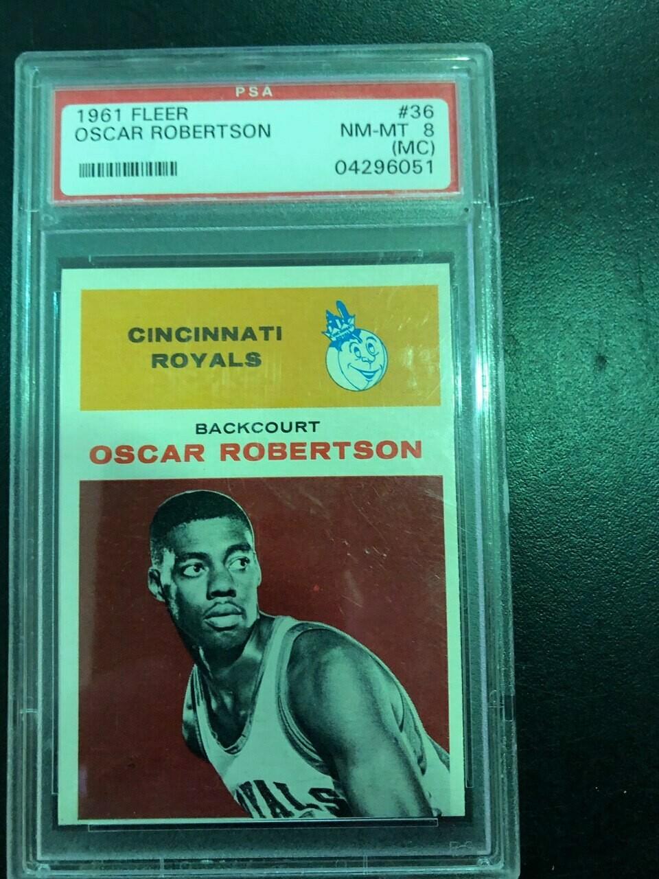 1961/62 Fleer #36 Oscar Robertson rookie, PSA graded 8oc, $895