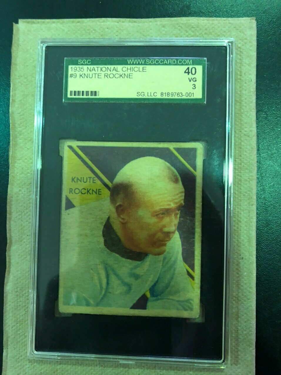 1935 National Chicle #9 Knute Rockne SGC graded 3, List $1600, Sell $795