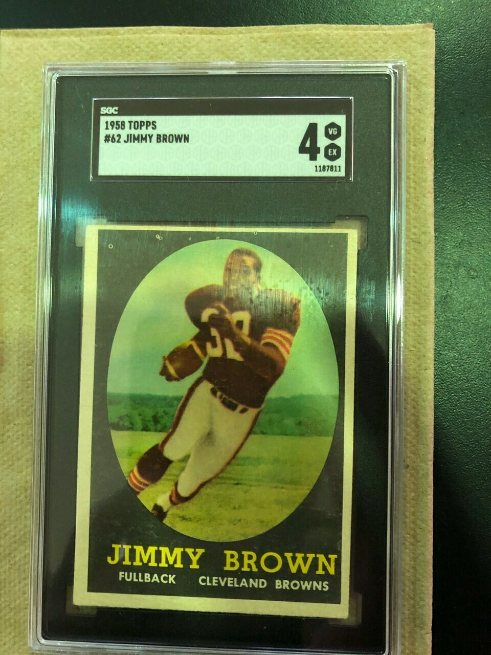 1958 Topps #62 Jim Brown rookie SGC graded 4, $595