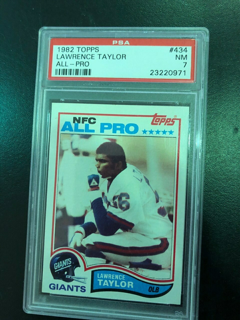 1982 Topps #434 Lawrence Taylor rookie PSA graded 7, $25