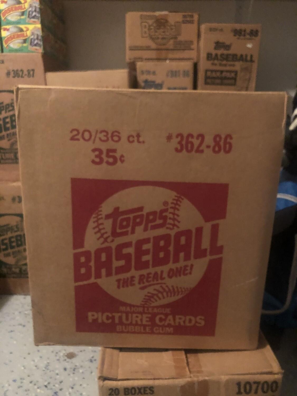 1986 Topps Baseball Wax Case; 20 boxes