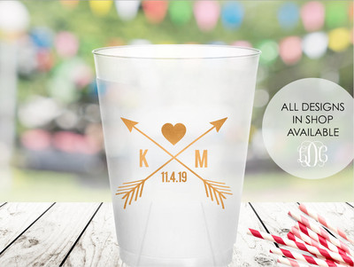 b051399c769 Love Arrow cups Personalized 16 oz Frosted Flex cups wedding cups