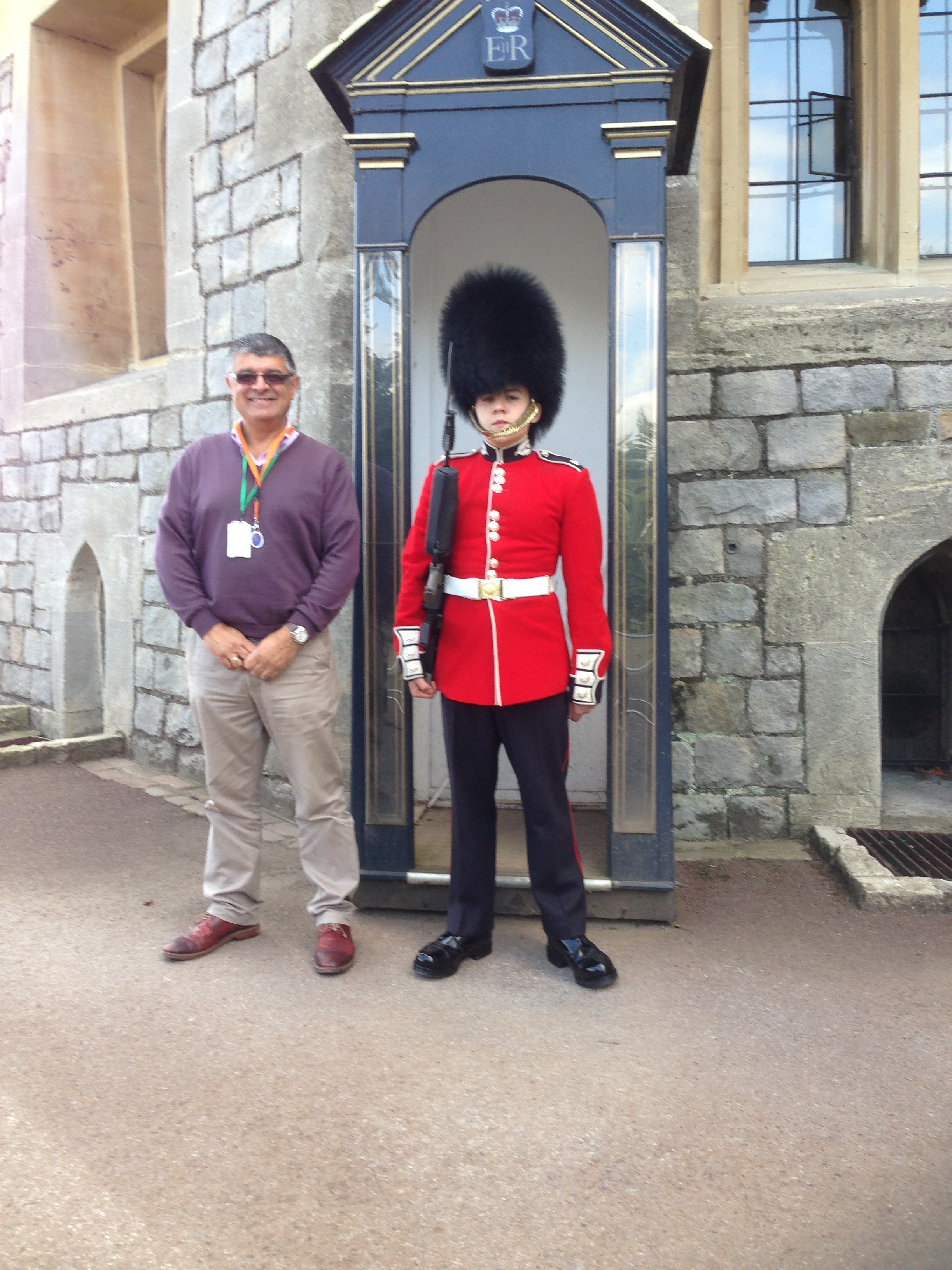 PHOTO opportunity with Guard at Windsor Castle