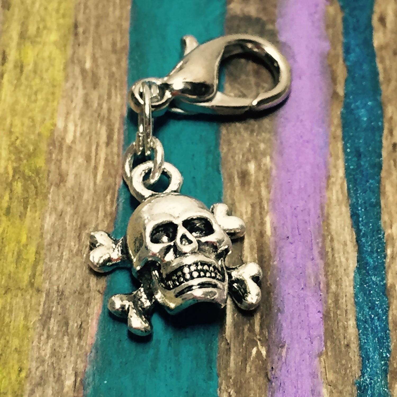 Skull Zipper Pull, Cell Phone Charm, Shoe Charm, Backpack Charm, Purse Charm...Skull