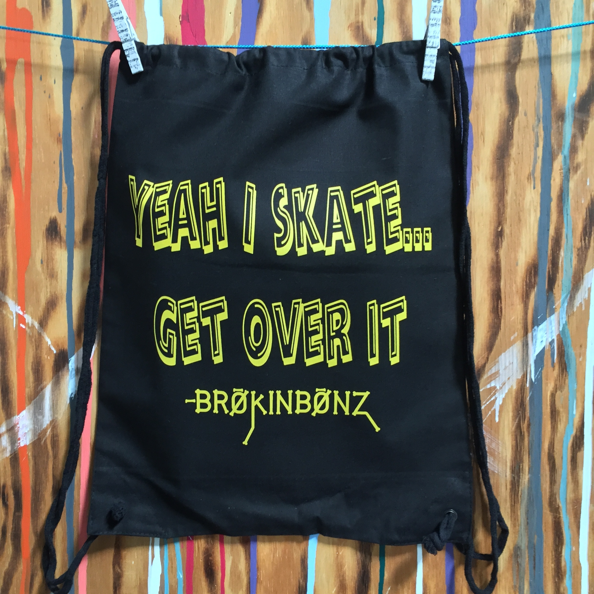 Yeah I Skate Get Over It Drawstring Backpack YISDBP