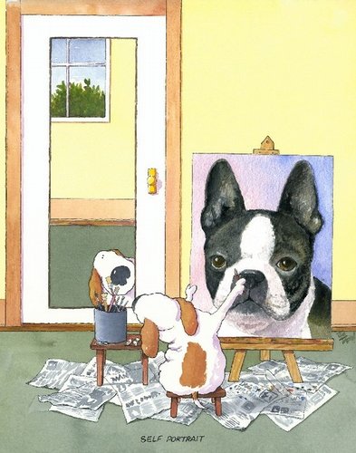 Self-Portrait Boston Terrier