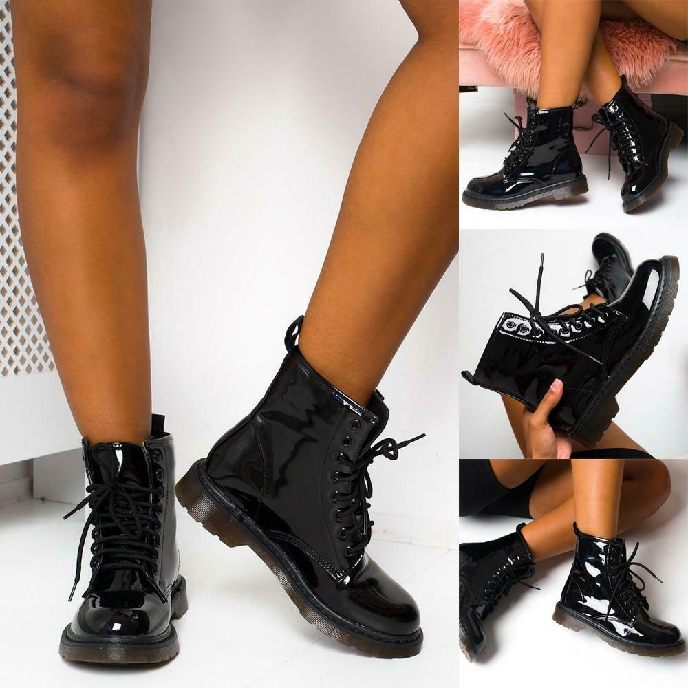 block heel lace up biker boots