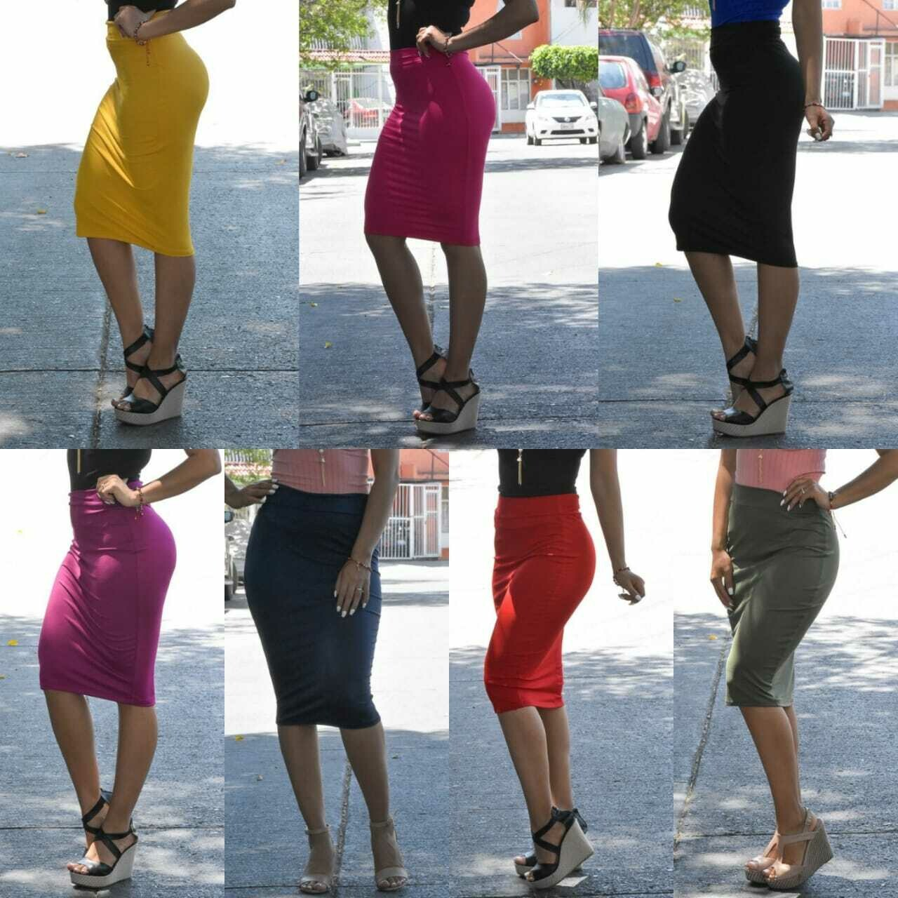Paquete de 6 faldas corte lapiz modelo 207