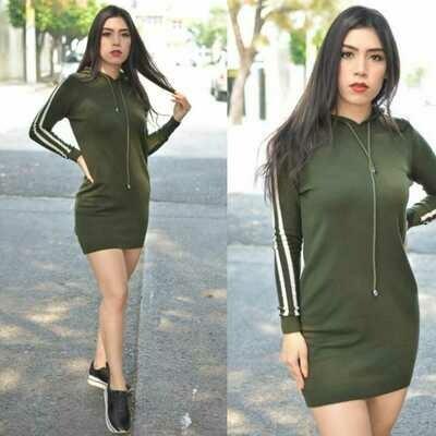 Vestido Casual con gorro Modelo 371-verde