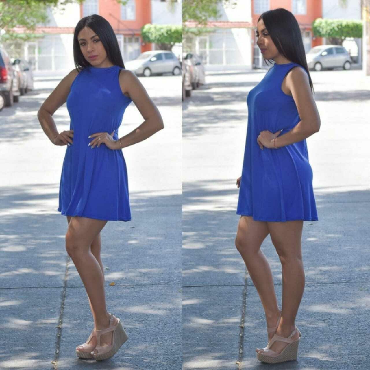 vestido corte A-Azul rey
