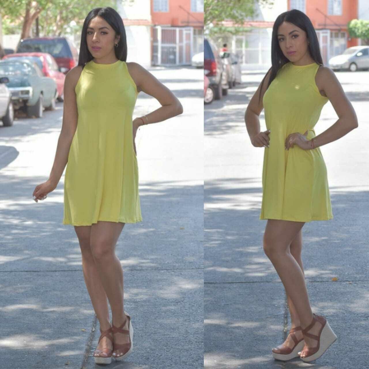 vestido corte A-Amarillo