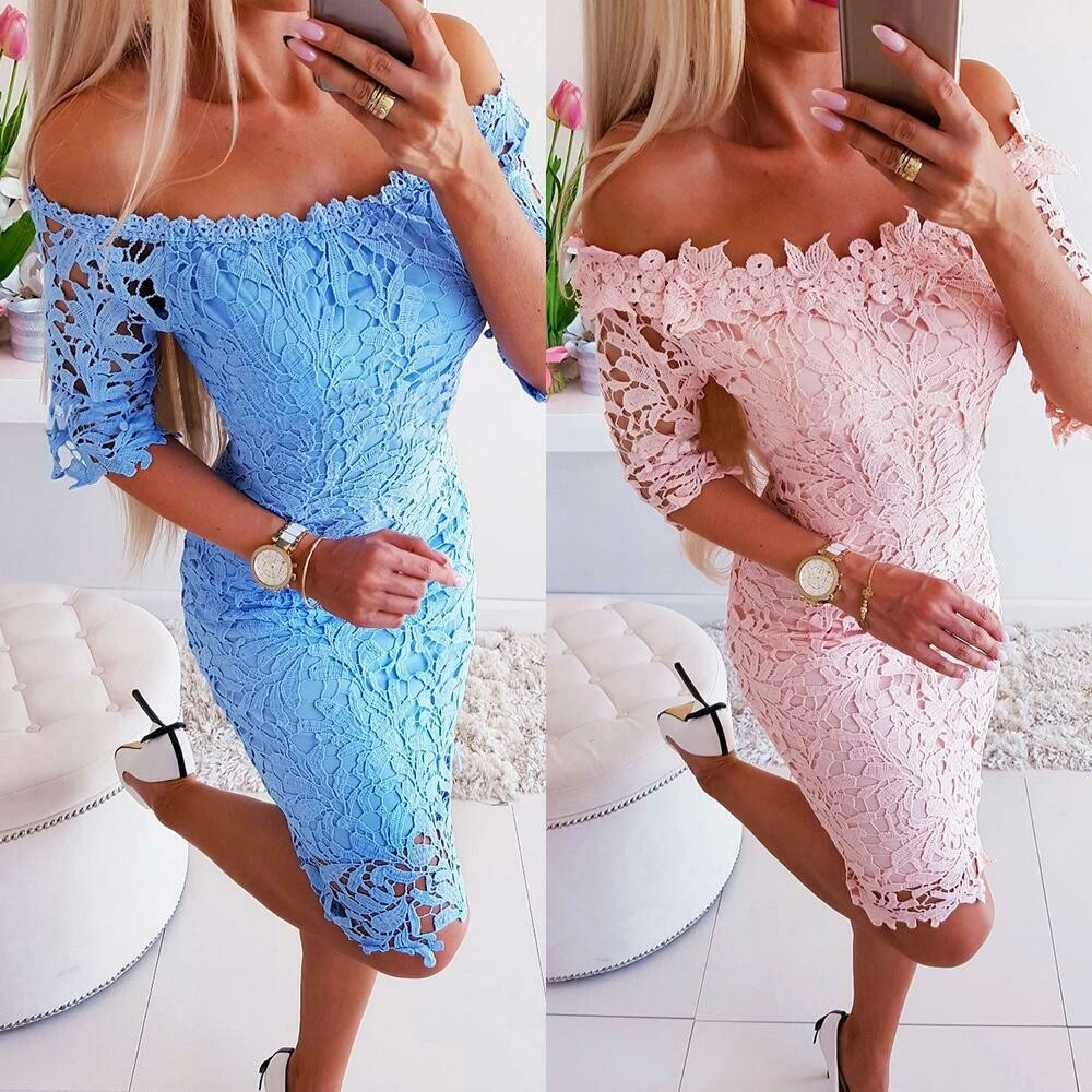 Gorgeous Flowers Lace One Shoulder Bodycon Dress Women Sexy Romantic Party Short Sleeve Ball Gown