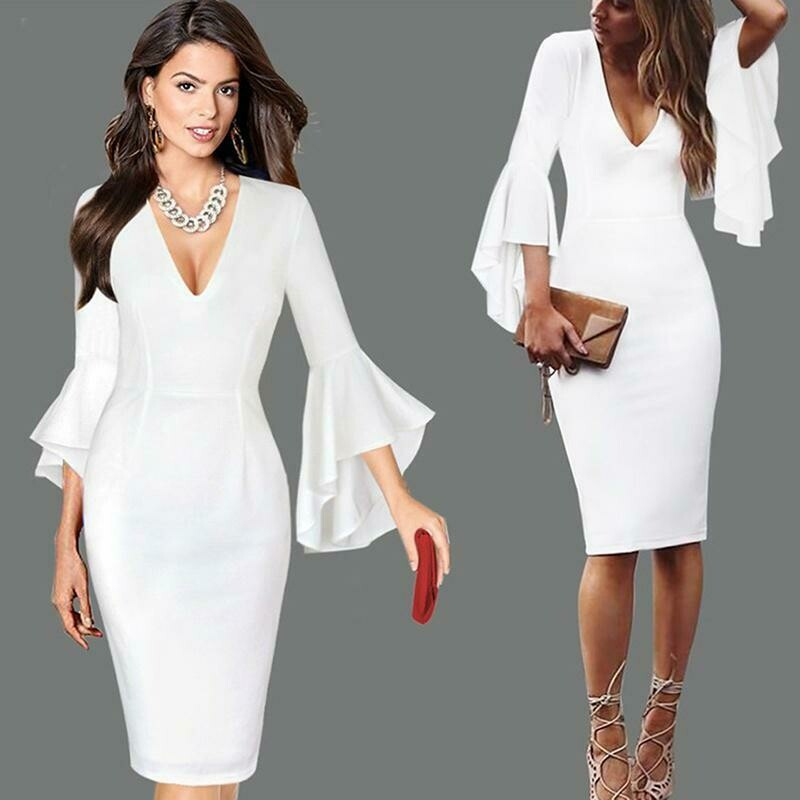 Women's Fashion Autumn Casual Pure Color Slim Sexy V Neck Speaker Sleeve Long Dress