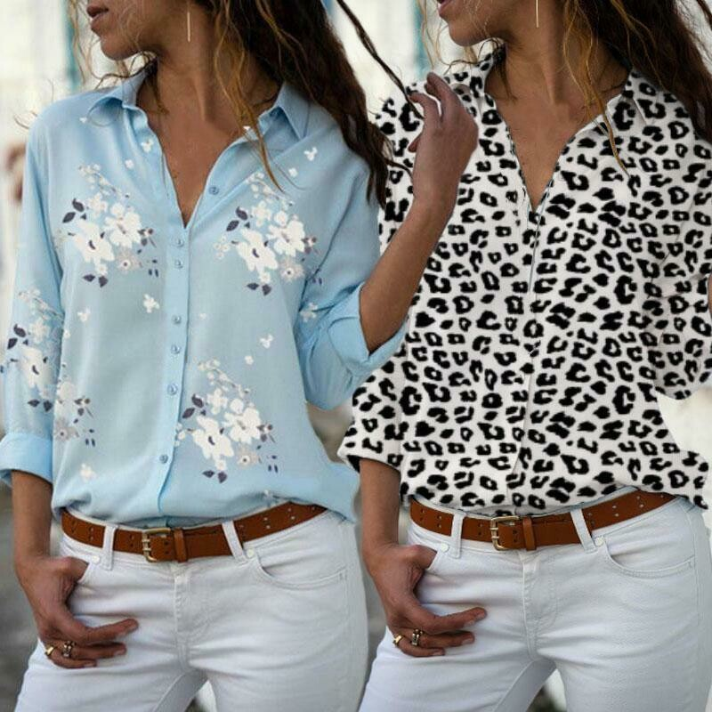 Women Office Shirt V-neck Long Sleeve Blouse Clothing Tops Fashion Casual Gift Cotton Big Size