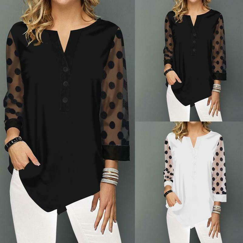 Celmia Women's Fashion Polka Dot Long Sleeve Shirt Casual V-neck Irregular Blouse Loose Tee Shirt