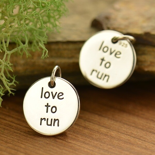 Sterling Silver Love to Run Fitness Jewelry Charm