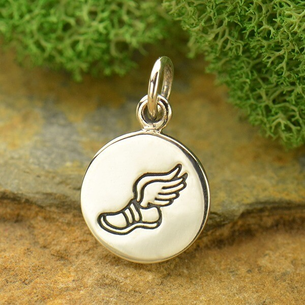 Sterling Silver Charm Necklace Running Shoe Charm with Wings