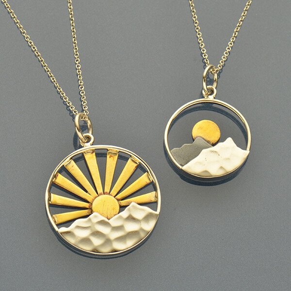 Set of Sunrise Charm Necklaces
