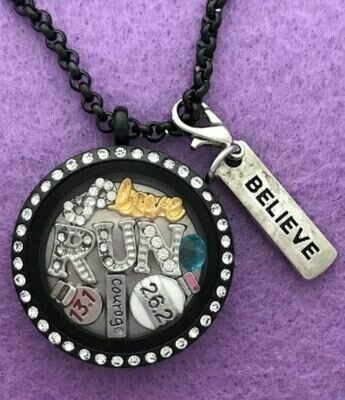 Love to Run 13.1 26.2 Double-Sided Locket Necklace