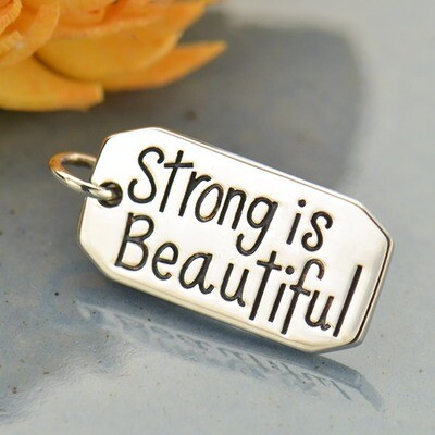 Sterling Silver Charm Necklace Strong is Beautiful