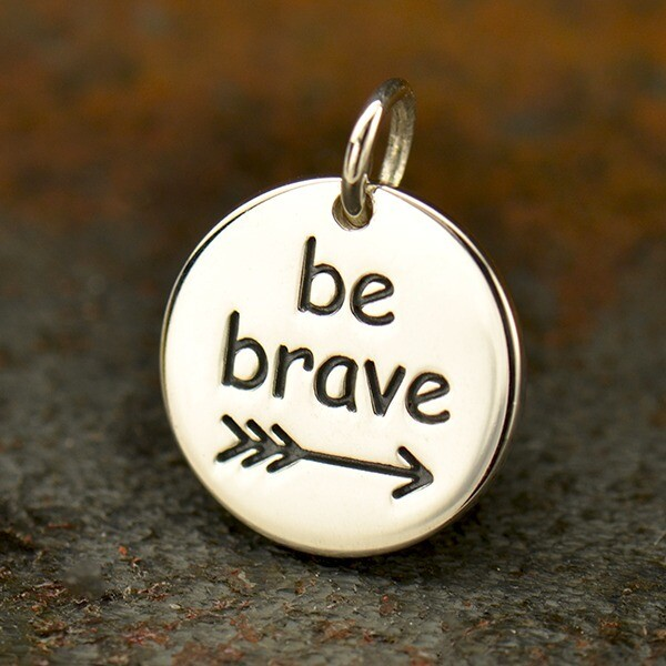 Sterling Silver Charm Necklace Be Brave
