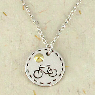 "Bicycle Charm Necklace on 18"" Sterling Silver Chain"