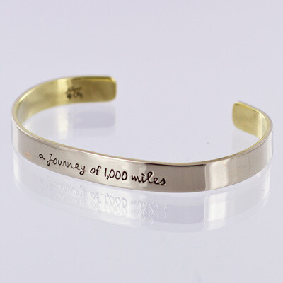 Cuff Bracelet - A Journey of 1,000 Miles Begins With A Single Step