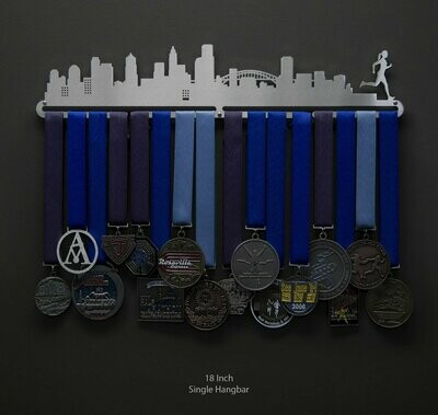 Cityscape Medal Display - Female Runner