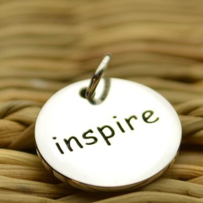 Sterling Silver Inspire Round Word Charm
