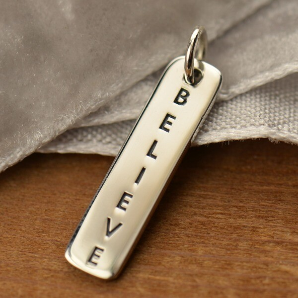 Sterling Silver Vertical Believe Charm Tag